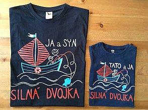 Oblečenie - Originálne maľované tričká pre otca a syna s rybárskym motívom (Dve dospelácke) - 9239160_