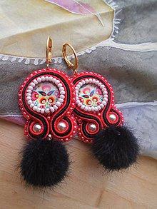 Náušnice - Mini folk náušnice (Čierna) - 9241779_