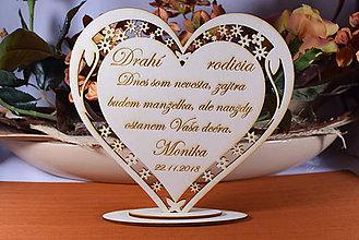 Darčeky pre svadobčanov - Poďakovanie Rodičom srdce vyrezávané 15 - 9239278_