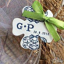 Darčeky pre svadobčanov - Štvorlístok s iniciálami a dátumom - 9238861_