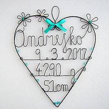 Detské doplnky - meno s údajmi o narodení dieťatka - 9244739_