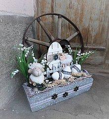 Dekorácie - Jarná dekorácia s barančekom - 9246591_