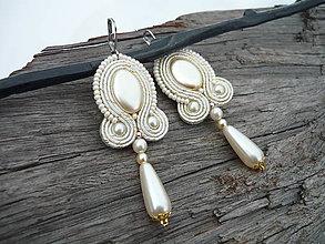 Náušnice - Soutache náušnice Svadobné perličkové Ivory Love - 9245289_