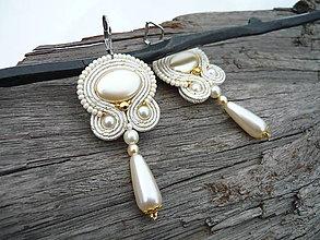 Náušnice - Soutache náušnice Svadobné perličkové Ivory Love - 9245431_