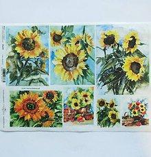 Papier - Ryžový papier na decoupage - A4-R1225 - kvety, slnečnice - 9245246_