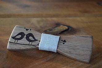 Iné doplnky - Svadobný drevený motýlik on/ona - 9246138_
