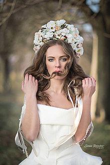 Ozdoby do vlasov - XXL kvetinová bohato zdobená folk parta - 9243805_