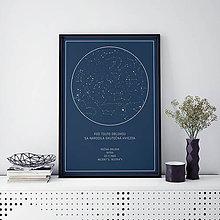 Grafika - Nočná obloha, moderná, modrá - 9247727_