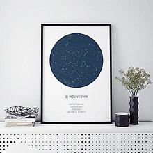 Grafika - Nočná obloha, minimalistická, modrá (PDF verzia A3) - 9247734_
