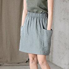 Sukne - Dámska ľanová sukňa s vreckami MOLLY - dostupná v 18 farbách - 9246898_