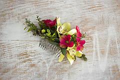 Ozdoby do vlasov - Kvetinový hrebienok ,,orchidea,, - 9246073_