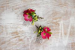 Ozdoby do vlasov - Kvetinový mini hrebienok - 9246172_