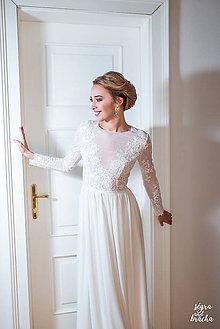 Šaty - Svadobné šaty z elastického tylu s dlhým rukávom  - 9244289_