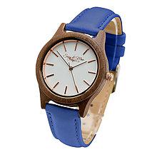 Náramky - Drevené hodinky Sissy&Max (Modrá) - 9245086_
