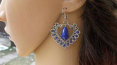 Náušnice - Veľké srdcové náušnice s kamienkami (kráľovsky modré, č. 1852) - 9245186_