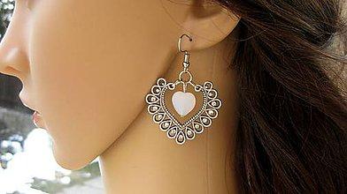 Náušnice - Veľké srdcové náušnice s kamienkami - 9245492_