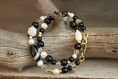 - Bohemian dvojradový náramok z minerálov onyx, achát, perly, krištáľ, magnezit - 9245142_