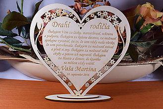 Darčeky pre svadobčanov - Poďakovanie Rodičom srdce vyrezávané 16 - 9244264_