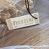Darčeky pre svadobčanov - Visačka s poďakovaním, s iniciálami a dátumom - 9243882_