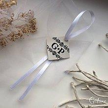 Darčeky pre svadobčanov - Visačka na fľašu s iniciálami - 9243886_