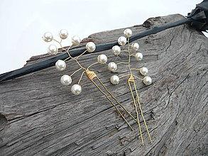 Ozdoby do vlasov - Svadobné vlásenky Smotanovo-zlaté perličkové 2ks - 9252631_