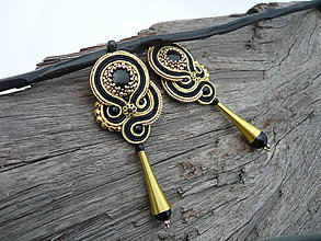 Náušnice - Soutache náušnice Luxury Black&Gold - 9252716_