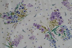 Textil - Látka Kvietkované motýle Lila - 9251127_