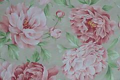 Textil - Látka Pivónie na režnej - 9251167_