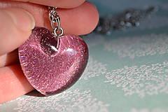 Náhrdelníky - Náhrdelník Fialové srdce (2379 A CHO) - 9250771_