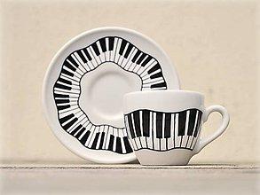 Nádoby - Porcelánová šálka s podšálkou na kávu - Piano - 9252865_
