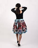 Sukne - Zavinovacia sukňa s dizajnovou potlačou Abstract city (z akrylovej maľby) - 9249449_