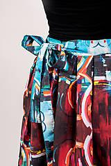 Sukne - Zavinovacia sukňa s dizajnovou potlačou Abstract city (z akrylovej maľby) - 9249451_
