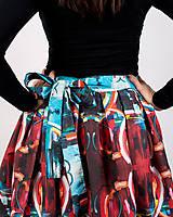 Sukne - Zavinovacia sukňa s dizajnovou potlačou Abstract city (z akrylovej maľby) - 9249452_