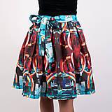 - Zavinovacia sukňa s dizajnovou potlačou Abstract city (z akrylovej maľby) - 9249453_