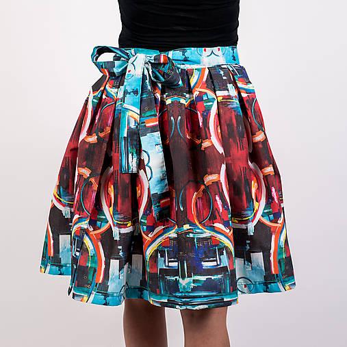 Zavinovacia sukňa s dizajnovou potlačou Abstract city (z akrylovej maľby)