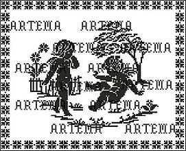 Návody a literatúra - B134 Anjeli v záhrade - predloha na vyšívanie - 9249070_