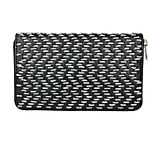 Peňaženky - Dámska kožená peňaženka ručne vyšívaná, šedé vyšívanie - 9252240_