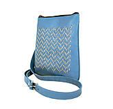 Kabelky - Ručne vyšívaná kabelka z pravej kože v modrej farbe - 9252372_