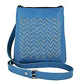 Kabelky - Ručne vyšívaná kabelka z pravej kože v modrej farbe - 9252373_