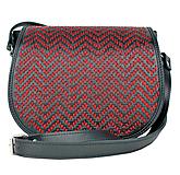 Lovecká kabelka ručne vyšívaná z pravej kože - červené vyšívanie