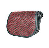 Kabelky - Lovecká kabelka ručne vyšívaná z pravej kože - červené vyšívanie - 9252511_
