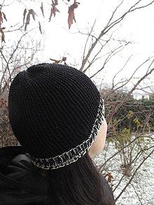 Čiapky - FAREBNÁ ČIAPKA, 9 farieb na výber + Vaša farba, 100% merino - aj ako ROLL - UP, ručne/STROJOM pletená (Čierna s čierno - bielym lemom) - 9252105_