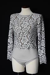 Topy - Body Dyona z krajky s dlhým rukávom rôzne farby - 9248941_