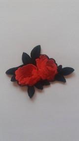 Galantéria - Nažehľovačka - dve ružičky červené - 9250081_