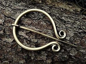 Iné doplnky - Severská odevná spona - jednoduchá,bronzová - 9252314_