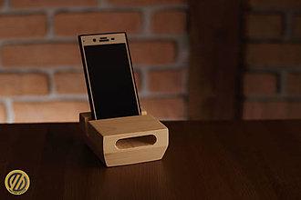 Pomôcky - Drevený stojan na mobil s pasívnym zosilňovačom Nordic Island - 9251577_