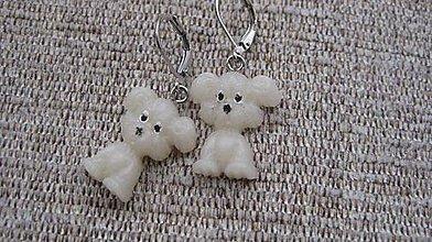 Náušnice - Biely psíčkovia č. 1859 - 9250376_