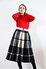 Sukne - Maximálne teplá zimná károvaná sukňa - 9252844_