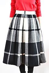 Sukne - Maximálne teplá zimná károvaná sukňa - 9252848_