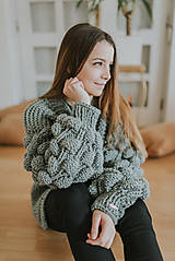 Svetre/Pulóvre - Oversized cardigan s bublinovými rukávmi,akryl - 9254664_